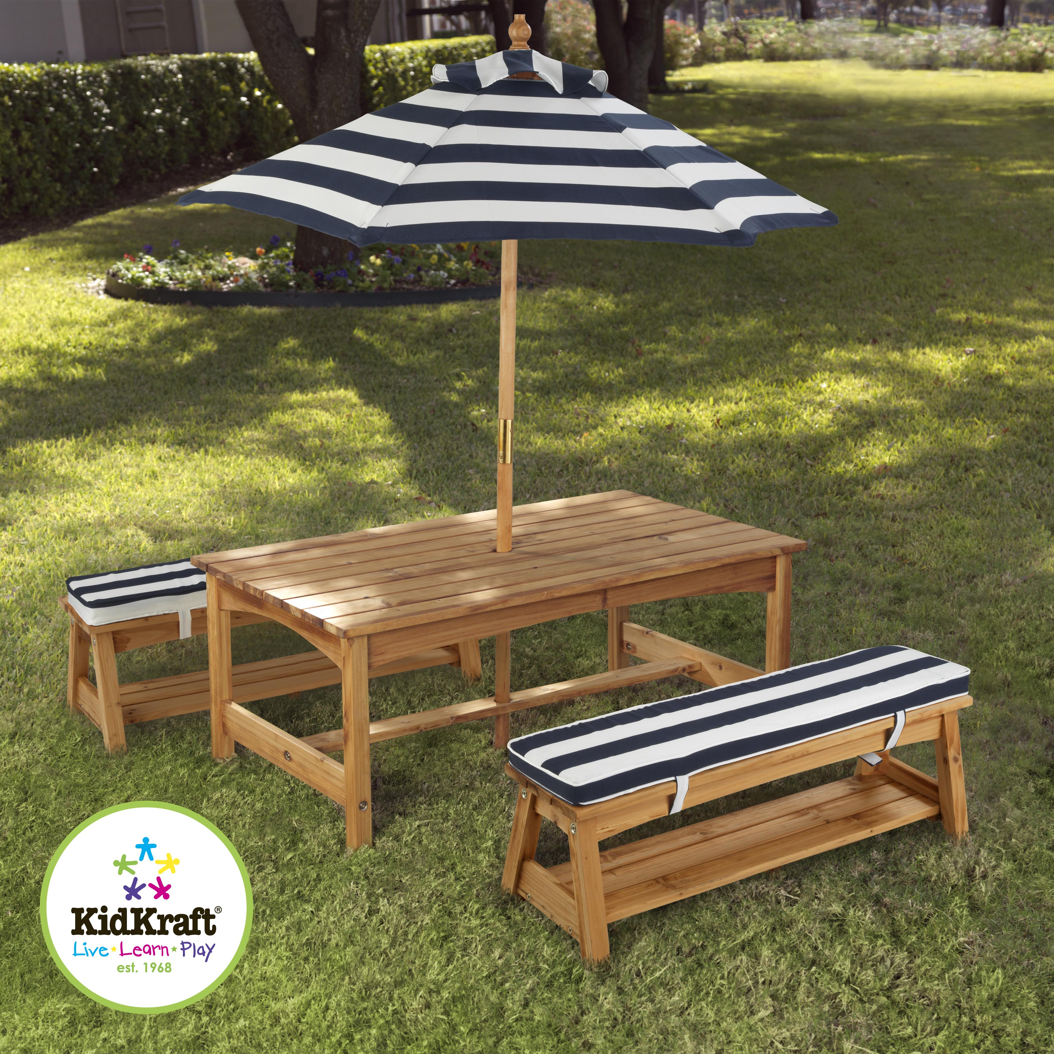 Kidkraft Outdoor Table & Bench set with Navy & White Cushion & Umbrella