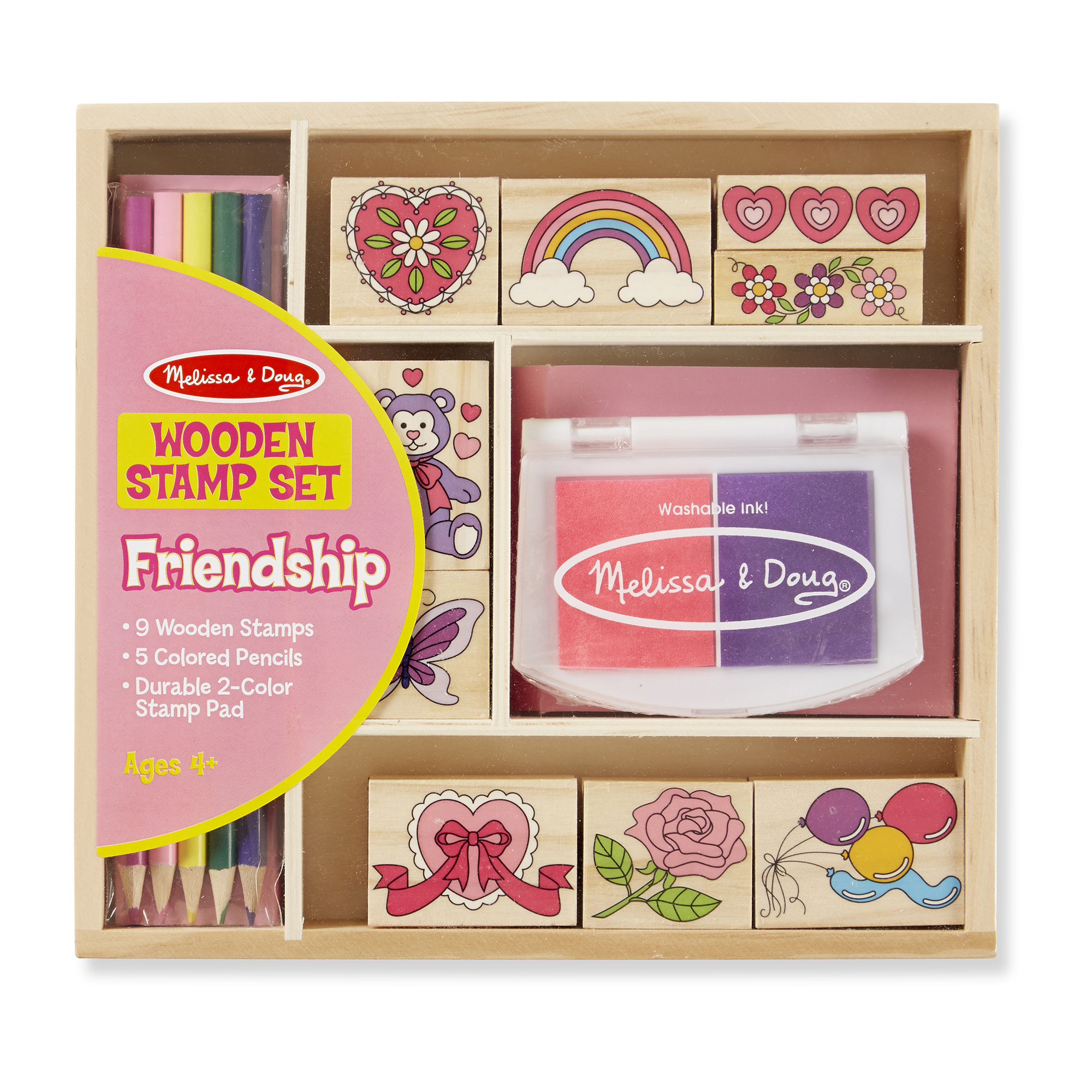 Melissa & Doug  ~ Wooden Friendship Stamp Set ~ 4+