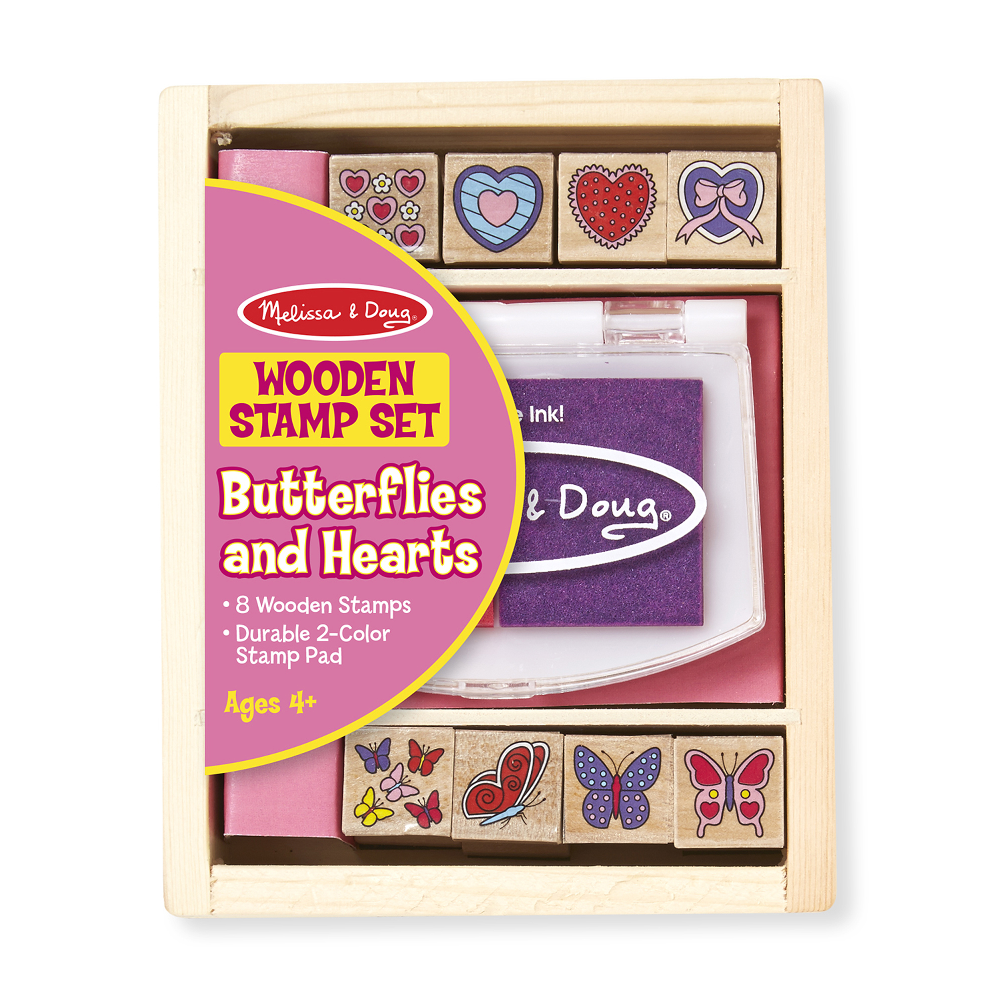 Melissa & Doug  ~ Wooden Stamp Set - Butterflies and Hearts ~ 4+