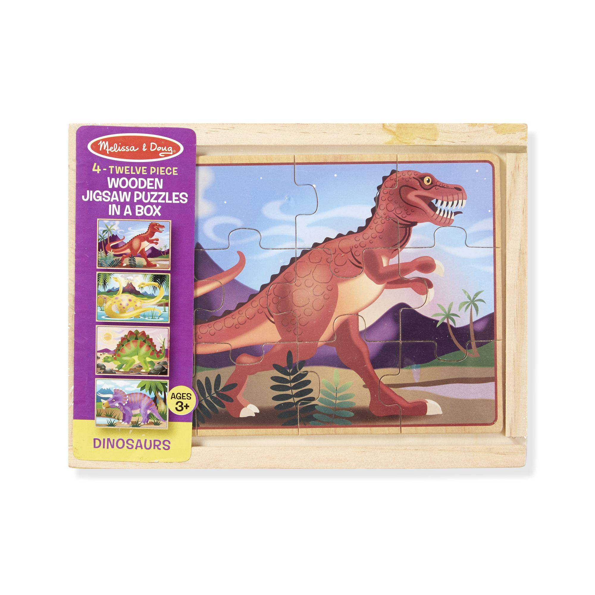 Melissa & Doug  ~ Wooden Jigsaw Puzzles in a Box ~ Dinosaurs