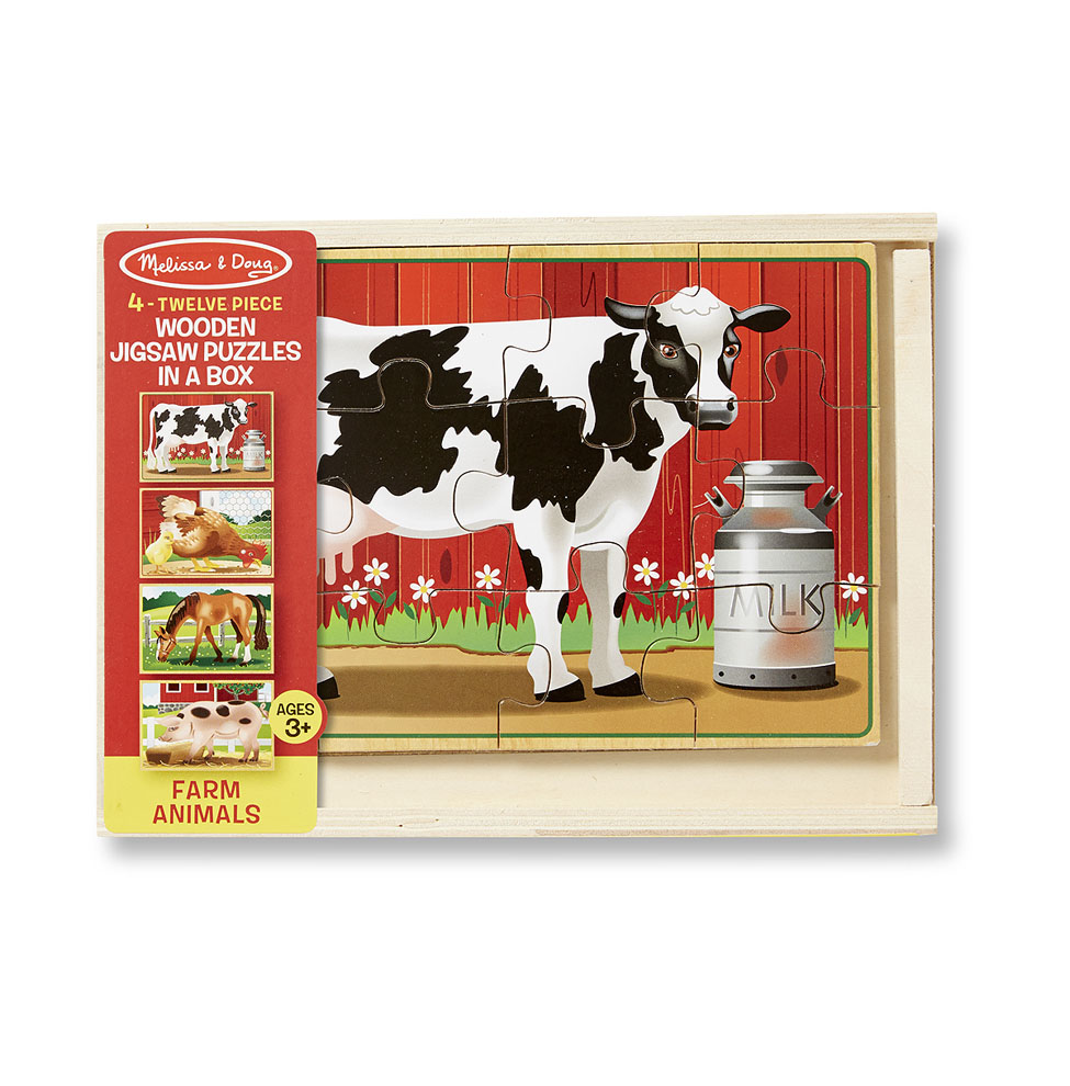 Melissa & Doug  ~ Wooden Jigsaw Puzzles in a Box ~ Farm Animals