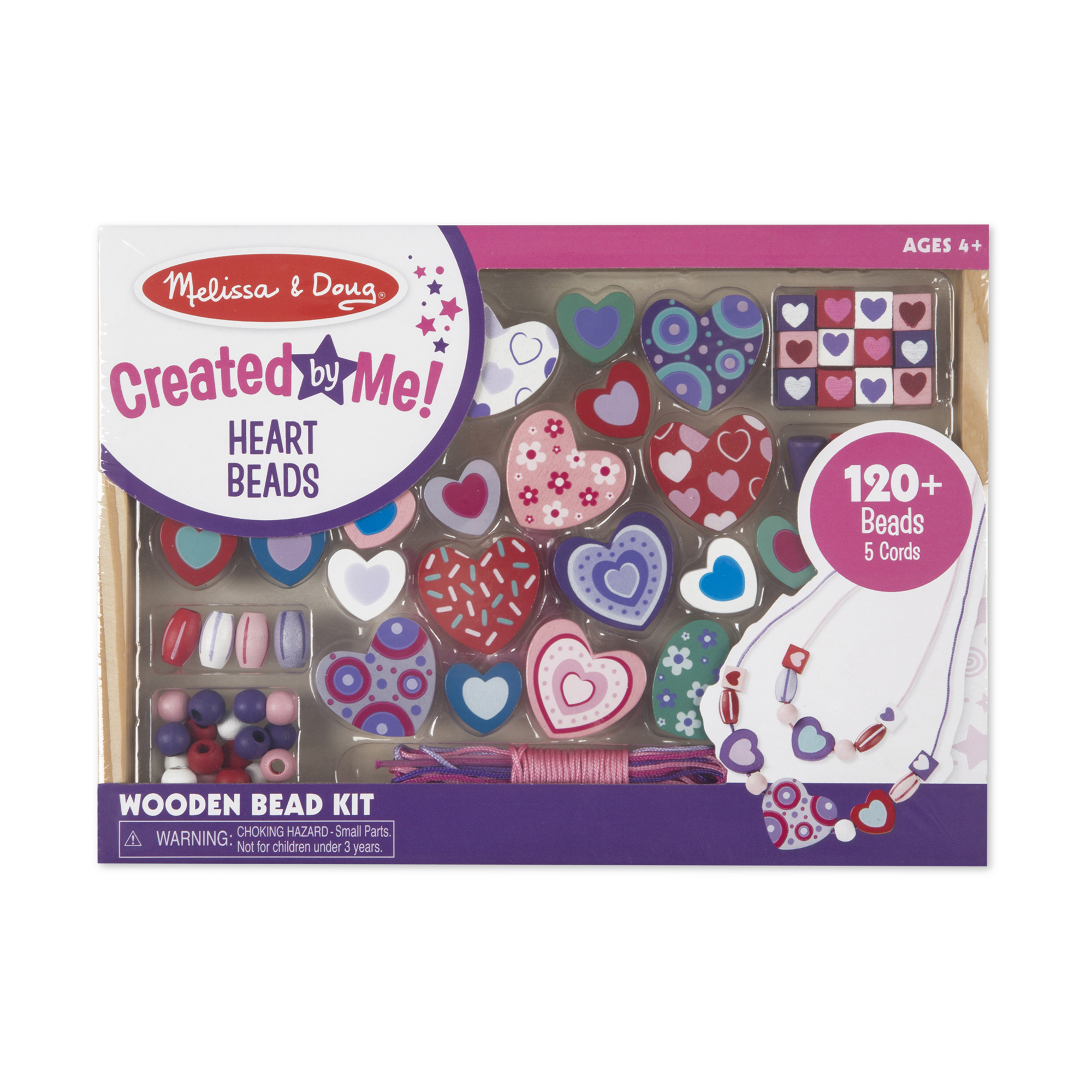 Melissa & Doug  ~ Created by Me! Heart Beads Wooden Bead Kit ~ 4+