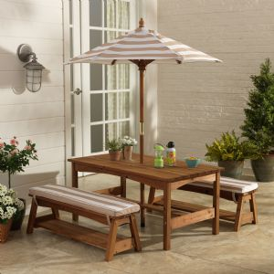 Kidkraft Outdoor Table & Bench set with Oatmeal & White Cushion & Umbrella