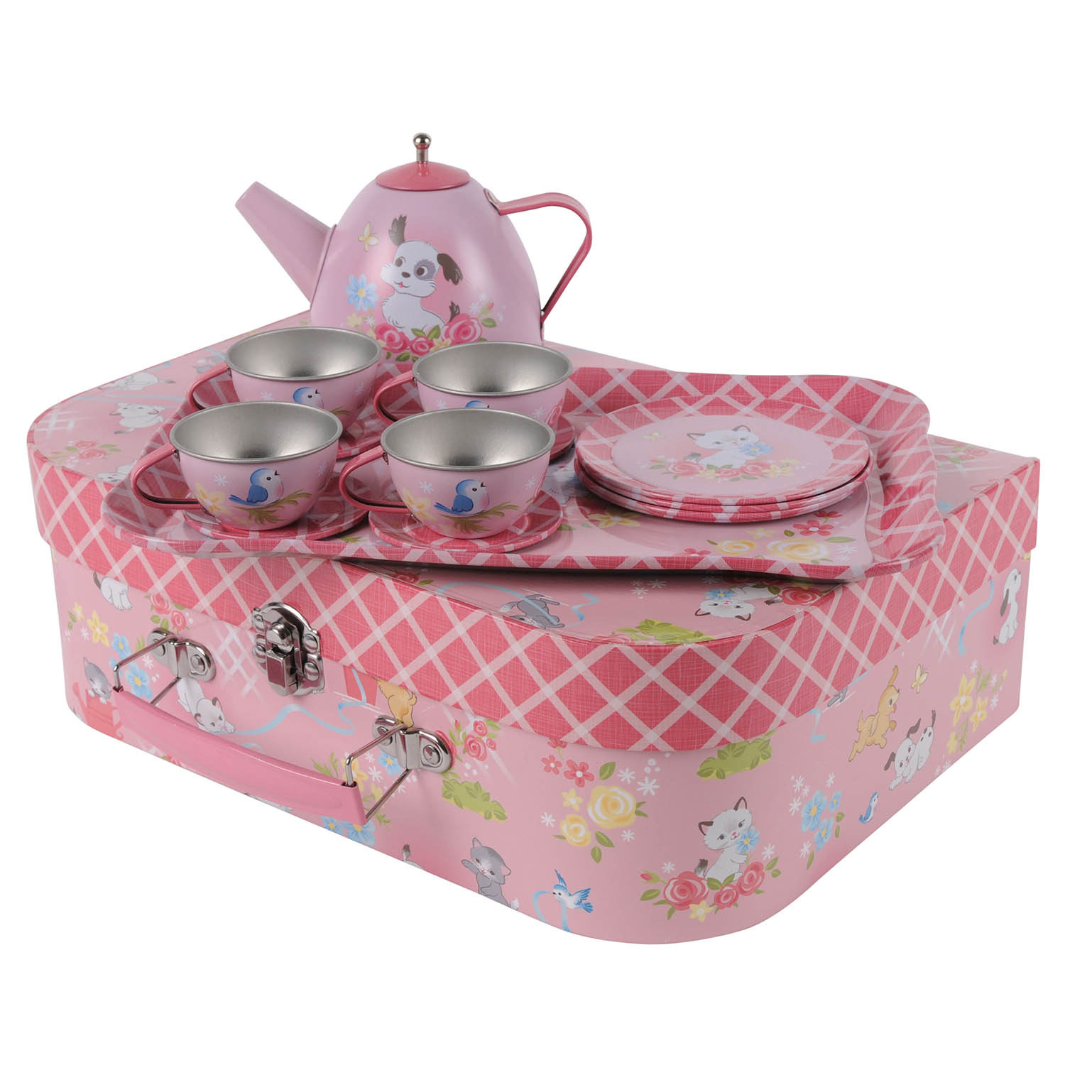 Vintage Tin Tea set in Kittens & Puppies Design in a case by Tiger Tribe
