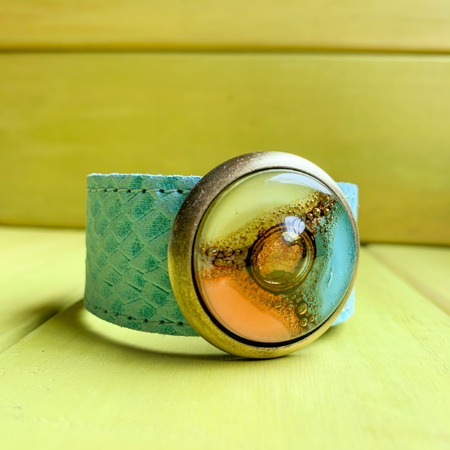 Blondie Glass & Leather Bracelet in Aqua,Yellow & Orange tones by Cristalida