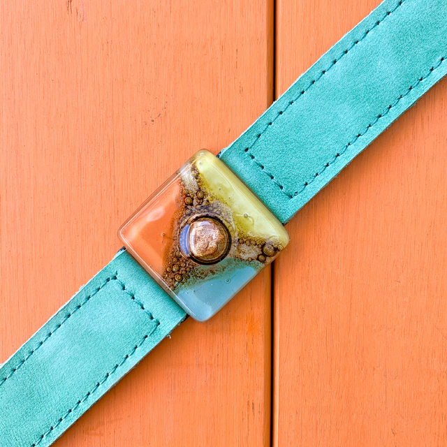 Cartagena Glass & Leather Bracelet in Aqua, Orange & Yellow by Cristalida