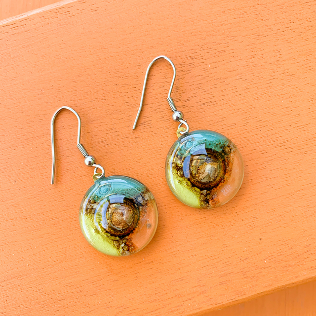 Round Basic Earrings in Glass & Metal in Aqua,Orange & Lime Tones by Cristalida