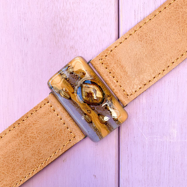 Caramel with Lilac Tones Glass and Leather 3cm Cuff by Cristalida