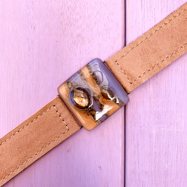 Cartagena Glass & Leather Bracelet in Purple & Camel Tones by Cristalida