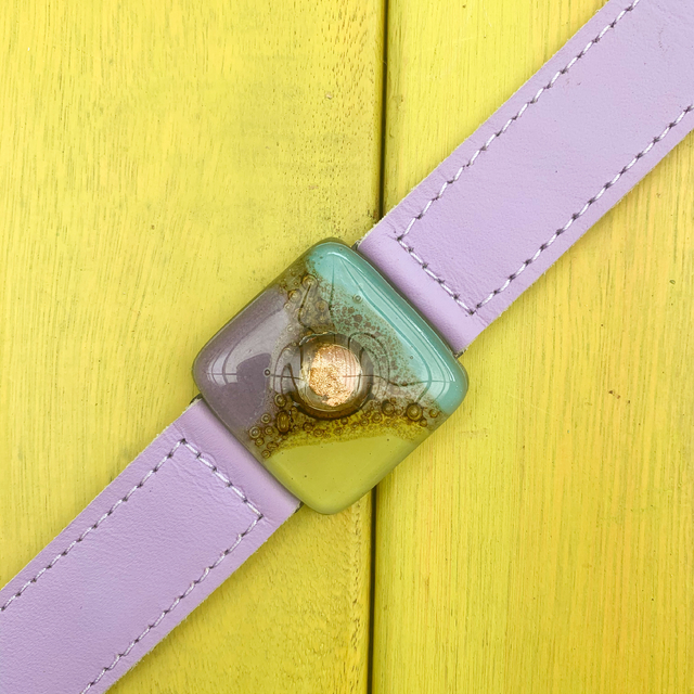 Cartagena Glass & Leather Bracelet in Lilac,Teal & Yellow Tones by Cristalida