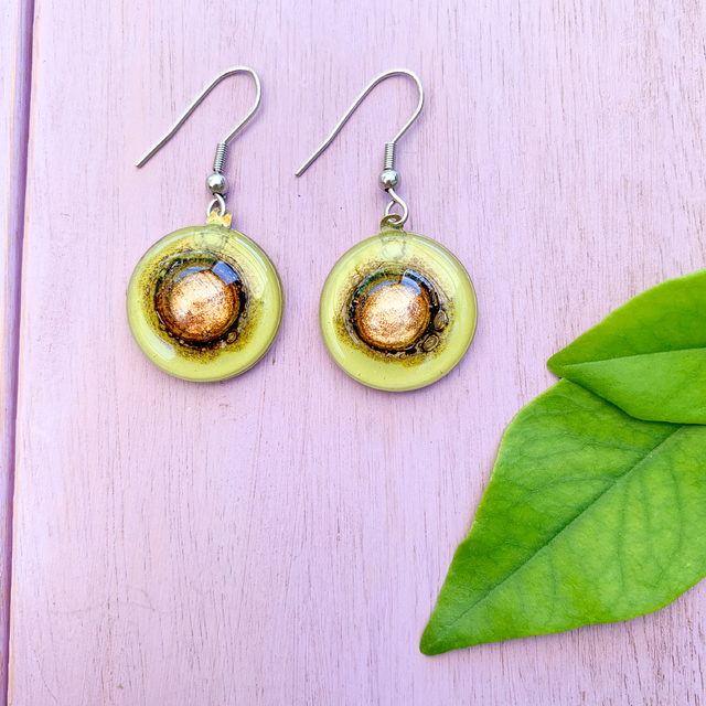 Round Basic Earrings in Glass & Metal in Lime Tones by Cristalida