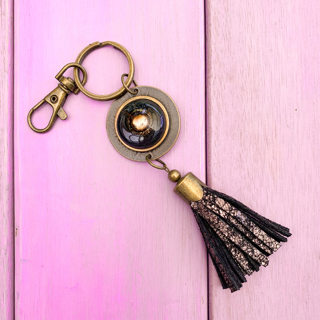 Key Chain in Leather, Glass & Metal in Black & metallic Tones by Cristalida