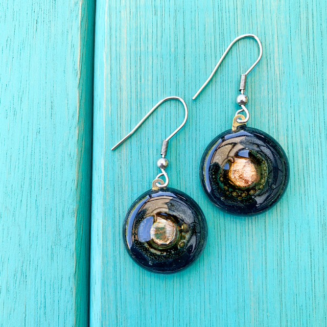 Round Basic Earrings in Glass & Metal in Black Tones by Cristalida