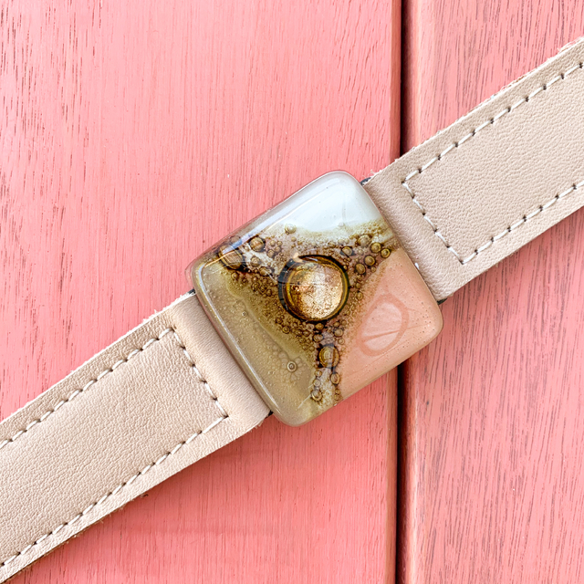 Cartagena Glass & Leather Bracelet in Pink, White & Camel Tones by Cristalida