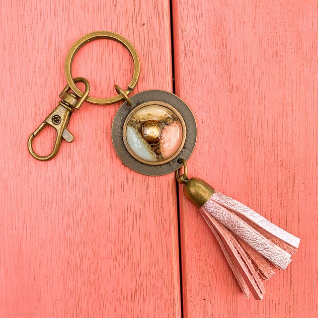 Key Chain in Leather, Glass & Metal in Pink & White Tones by Cristalida