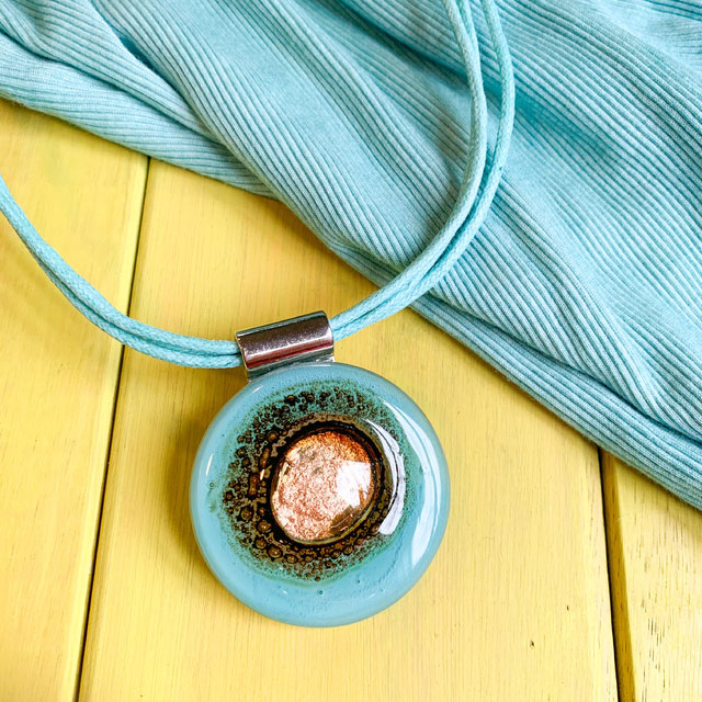 Candy Leather & Glass Necklace in Aqua by Cristalida