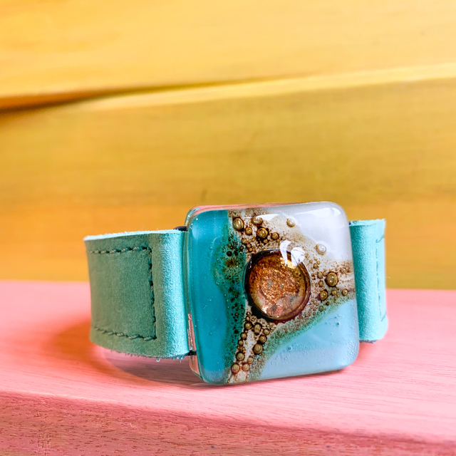 Cartagena Glass & Leather Bracelet in Aqua & White  tones by Cristalida