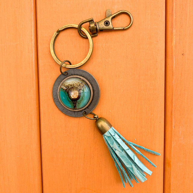 Key Chain in Leather, Glass & Metal in Aqua & White Tones by Cristalida