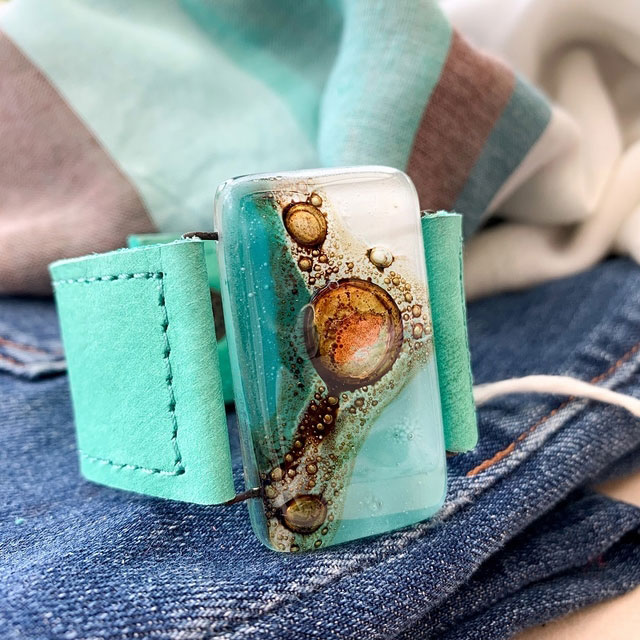 Aqua Tones Glass and Leather 3cm Cuff by Cristalida