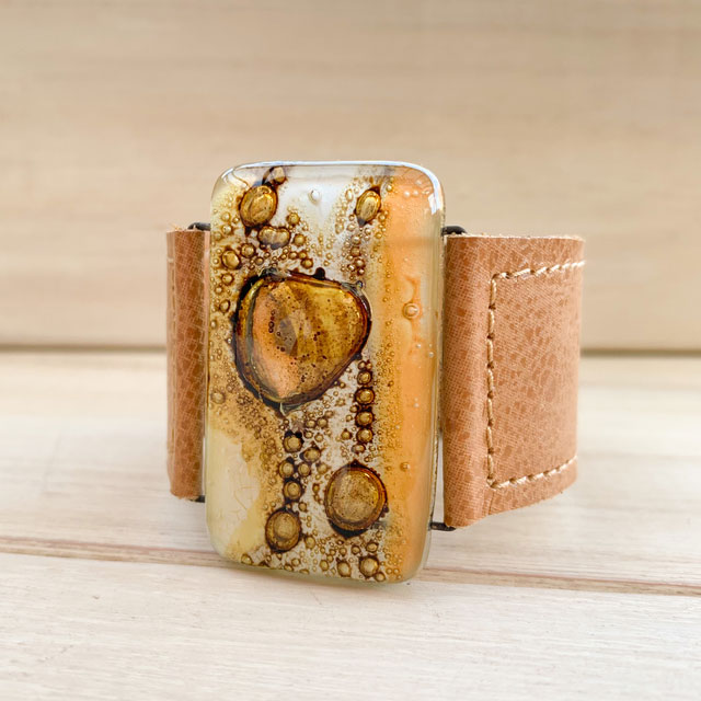 Caramel, Natural Tones Glass and Leather 3cm Cuff by Cristalida