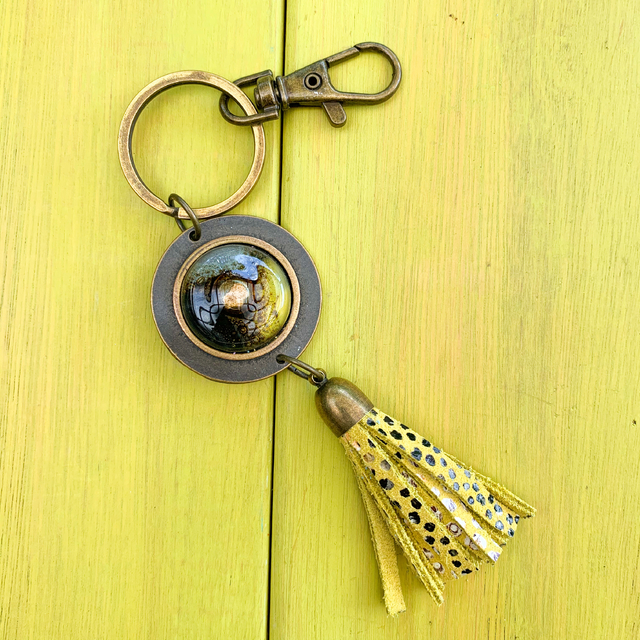 Key Chain in Leather, Glass & Metal in Yellow & Black Tones by Cristalida