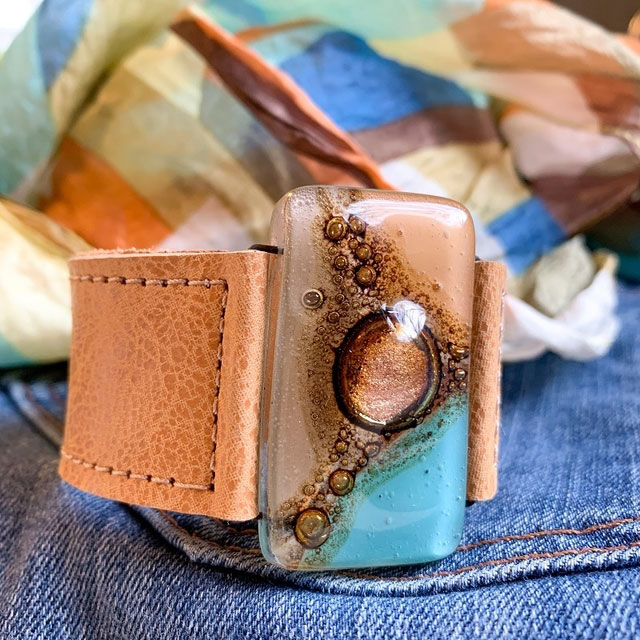 Caramel,Teal & Neutral Tones Glass and Leather 3cm Cuff by Cristalida
