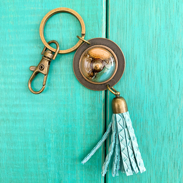 Key Chain in Leather, Glass & Metal in Aqua & Camel Tones by Cristalida