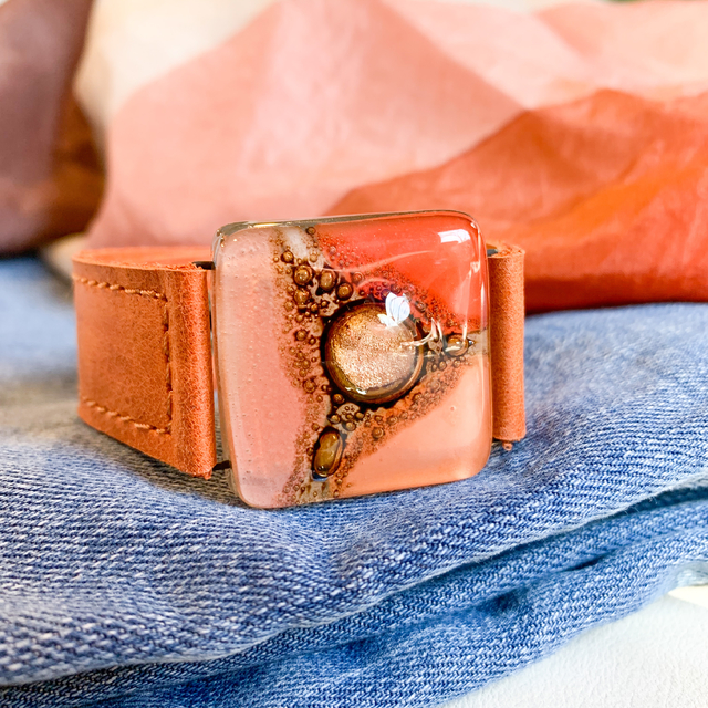 Cartagena Glass & Leather Bracelet in Orange,Pink & Terracotta  tones by Cristalida