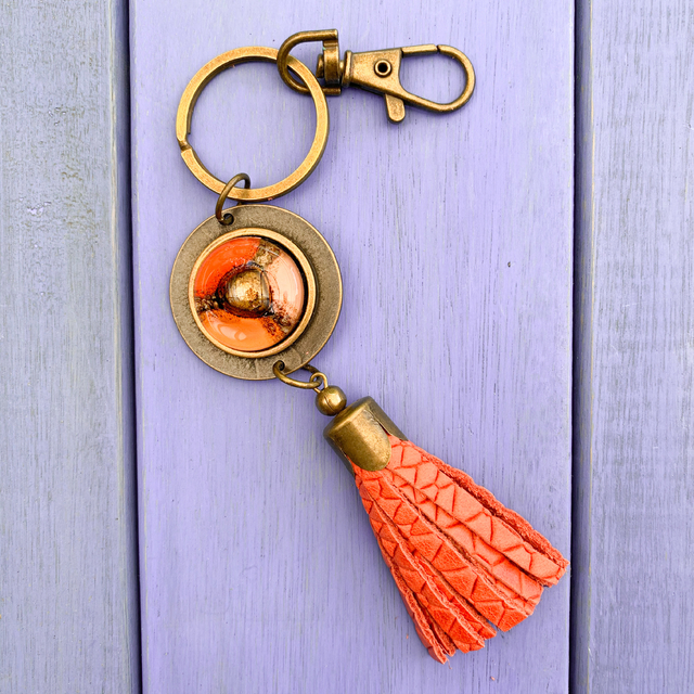 Key Chain in Leather, Glass & Metal in Terracotta,Orange & Pink Tones by Cristalida