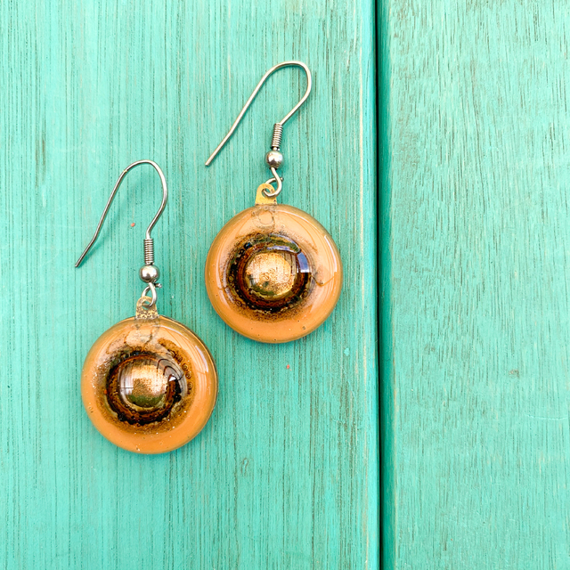 Round Basic Earrings in Glass & Metal in Camel Tones by Cristalida