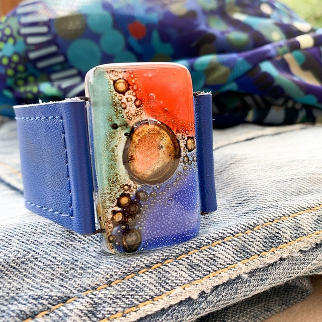 Blue & Orange Tones Glass and Leather 3cm Cuff by Cristalida