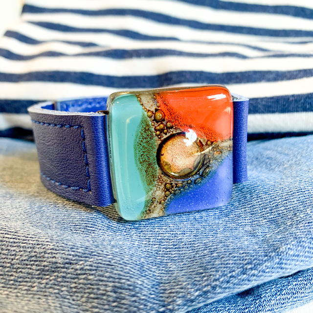 Cartagena Glass & Leather Bracelet in Blue,Teal & orange Tones by Cristalida