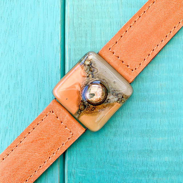 Cartagena Glass & Leather Bracelet in Orange,Camel & Terracotta Tones by Cristalida