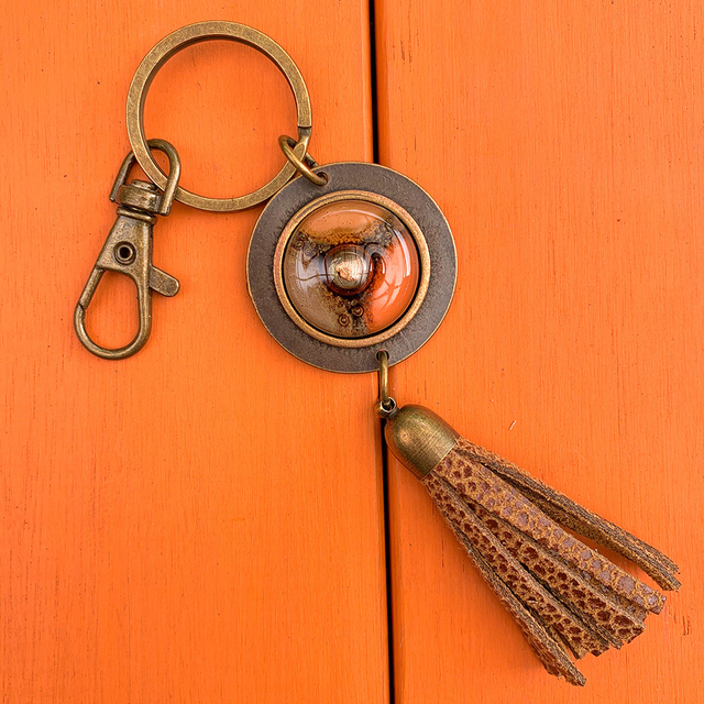 Key Chain in Leather, Glass & Metal in Terracotta,Orange & Camel Tones by Cristalida