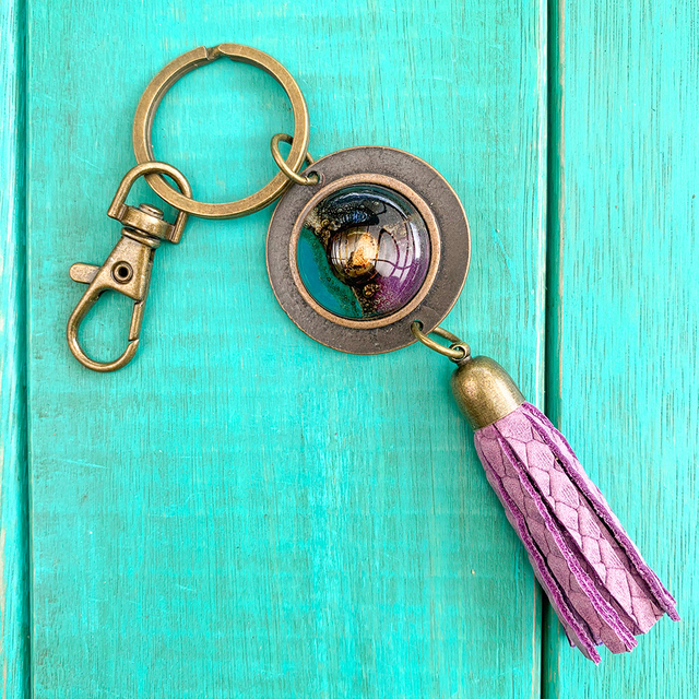 Key Chain in Leather, Glass & Metal in Violet & Teal Tones