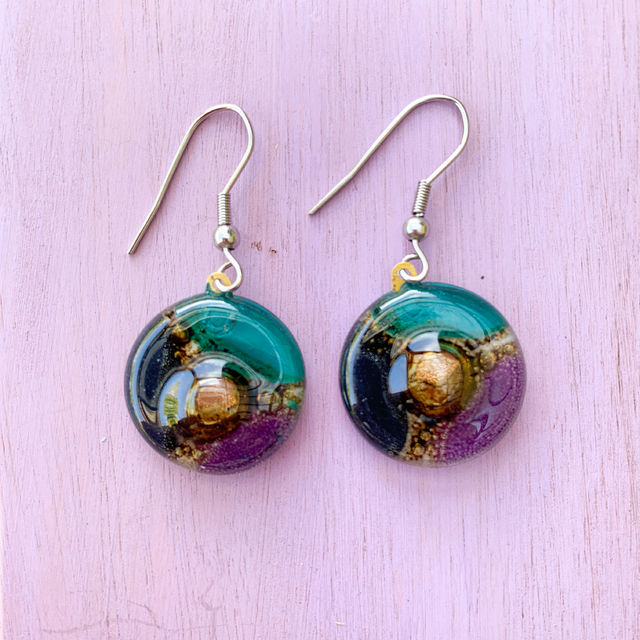 Round Basic Earrings in Glass & Metal in Violet,Emerald & Black Tones by Cristalida