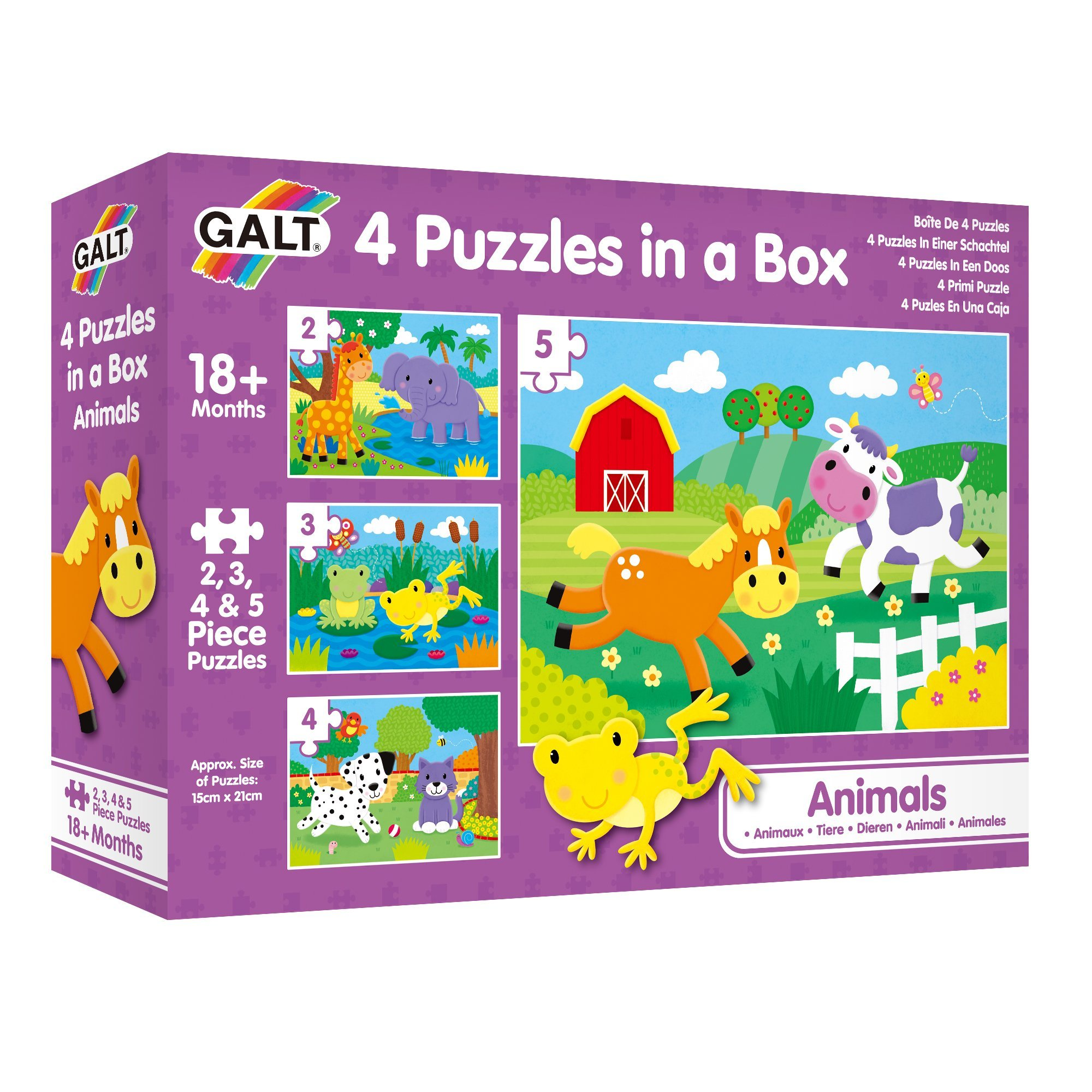 Galt 4 Puzzles in a Box - Animals Puzzle 18mths+ 1 x 2 pc, 1x 3 pc, 1 x 4pc,1 x 5 pc
