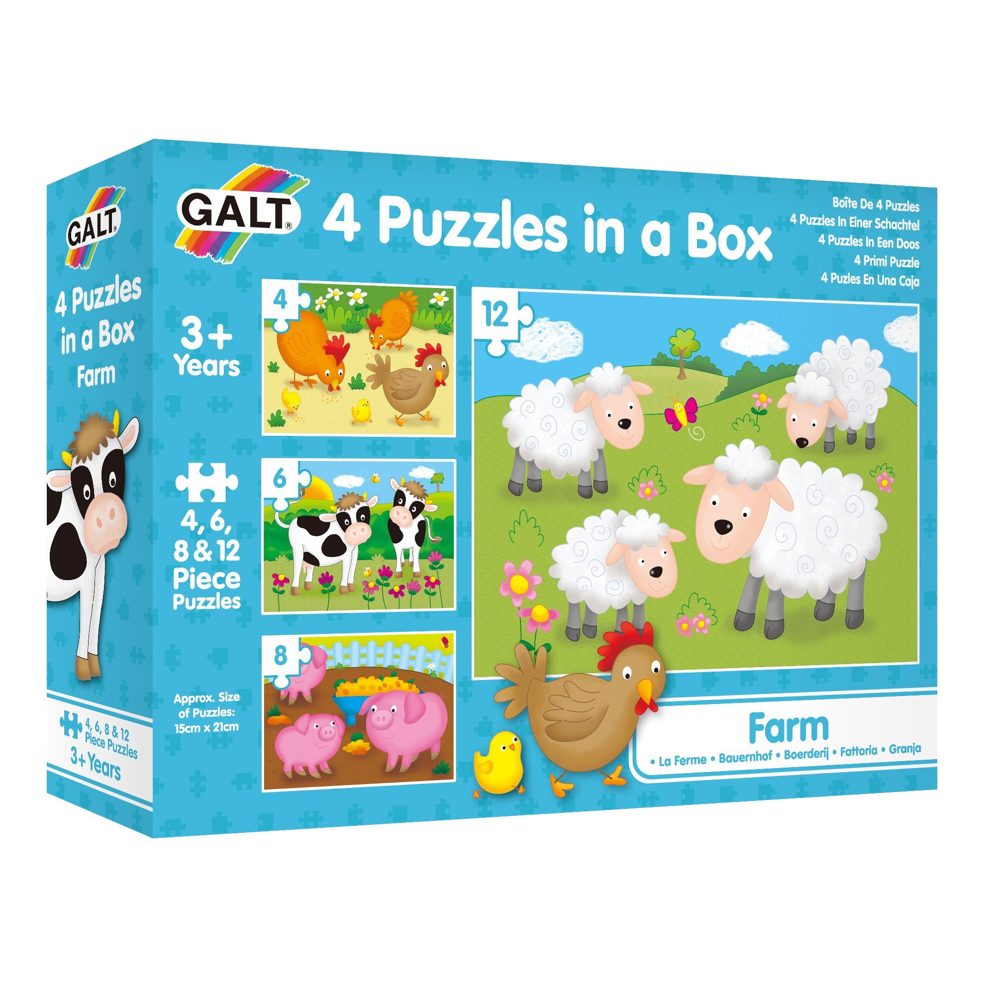 Galt 4 Puzzles in a Box - Farm Puzzle 3+