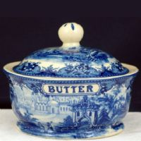 Butter Dish - Blue & White French Vintage Design by Somerton Green