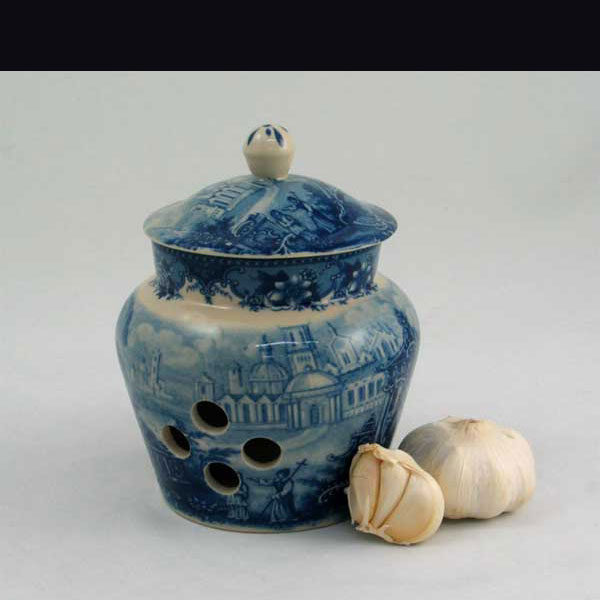 Garlic Pot - Blue & White French Vintage Design by Somerton Green