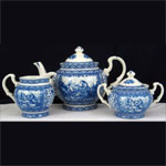 Set x 3 Teapot, Milk Jug, Sugar Bowl - Lattice Design by Somerton Green