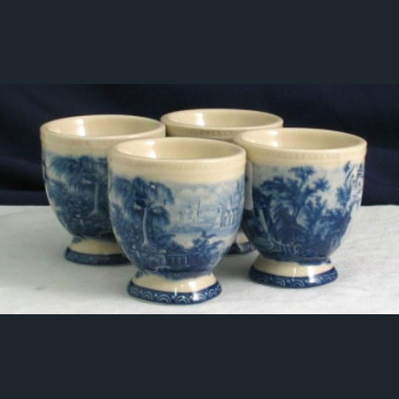 Egg Cups - Blue & White French Vintage design by Somerton Green