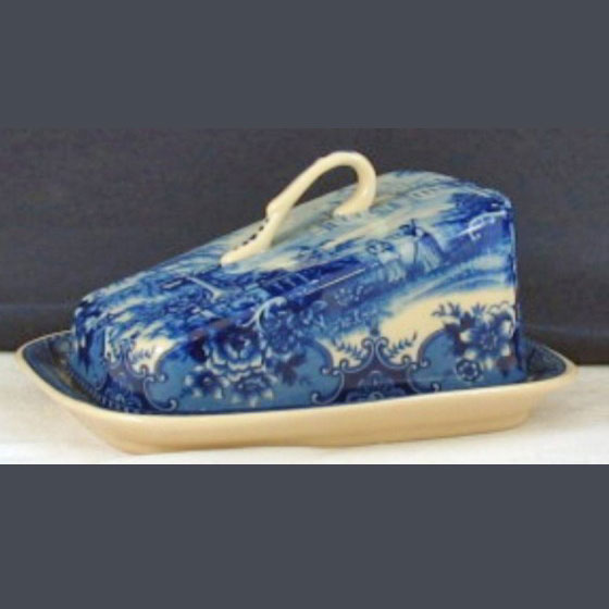Butter or Cheese Dish - Blue & white design by Somerton Green