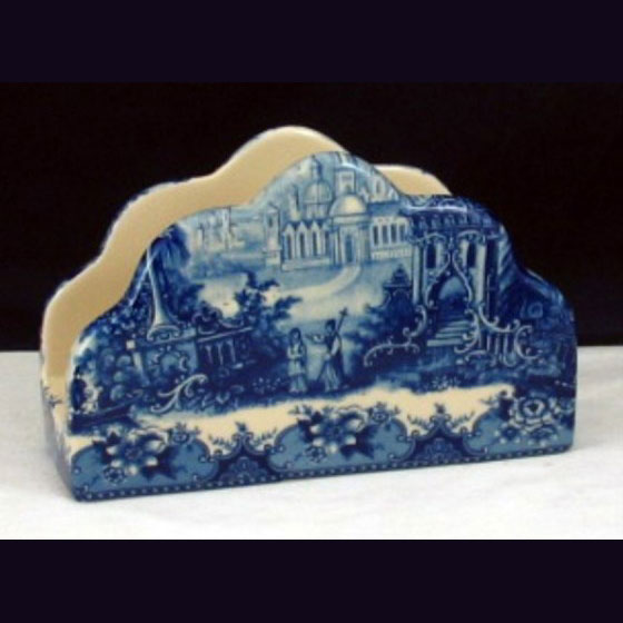 Napkin Holder - Blue & white French vintage design by Somerton Green