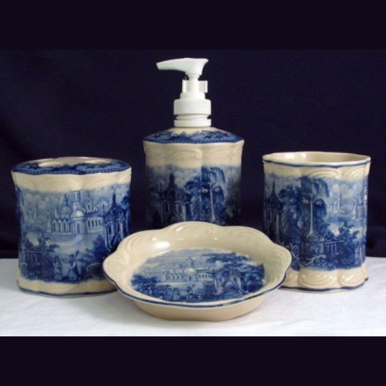 Vanity Bathroom set x 4 - Blue & White French Vintage Design by Somerton Green