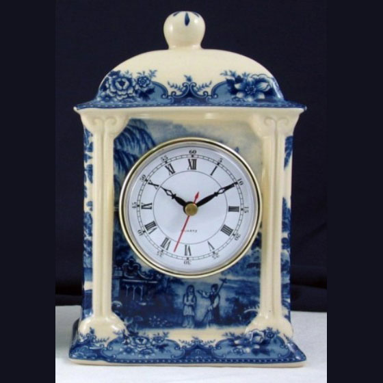 Clock - Blue & White French Vintage Design by Somerton Green