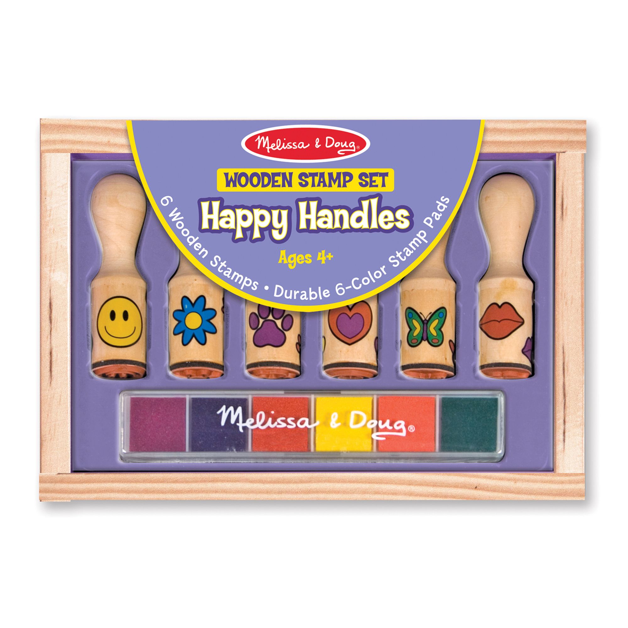 Melissa & Doug  ~ Wooden Stamp Set - Happy Handles ~ 4+
