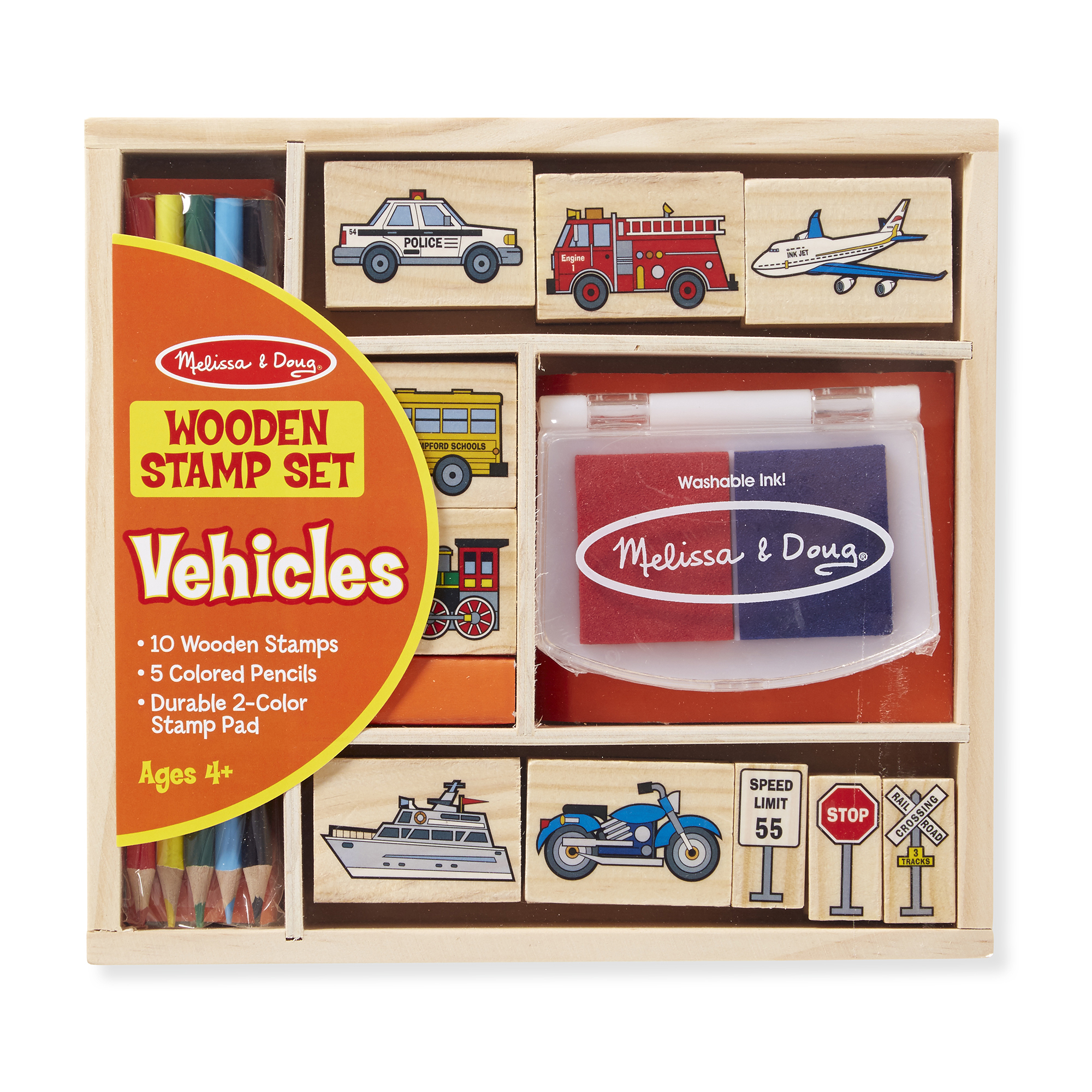 Melissa & Doug  ~ Wooden Stamp Set - Vehicles ~ 4+