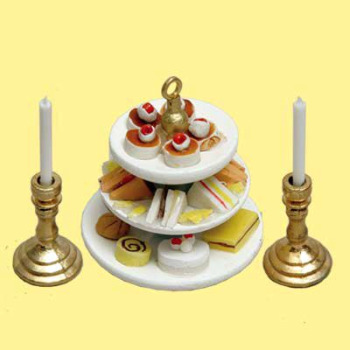 MINIATURE -- 3 TIERED CAKE TRAY 2 CANDLESTICKS