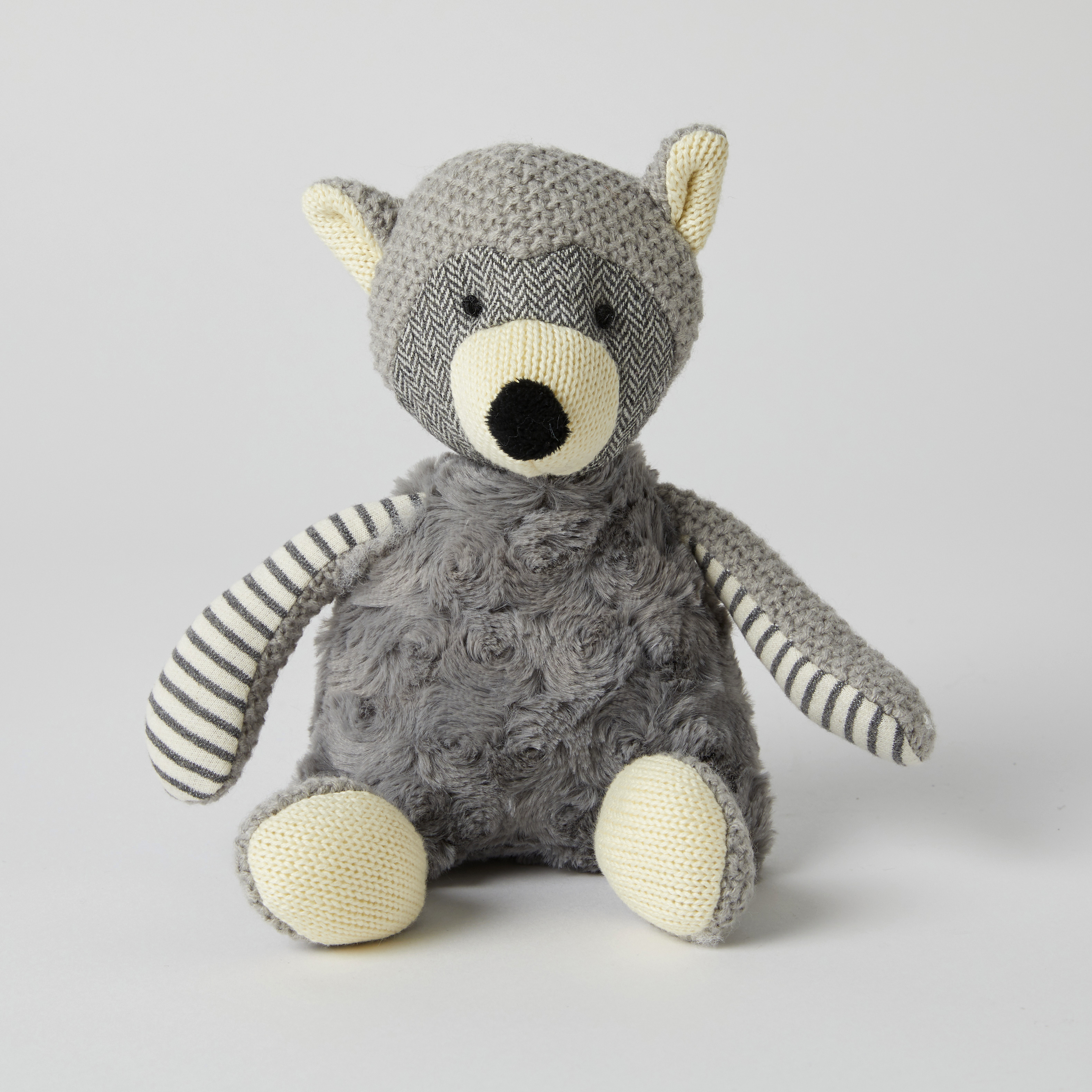 Grey Racoon Rattle Toy by Pilbeam